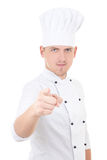 Young handsome man chef pointing at you isolated over white Stock Photography