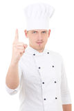 Young handsome man chef showing finger up isolated over white Stock Photography