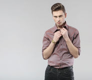 Young handsome man with classic haircut Royalty Free Stock Photos