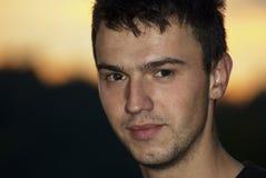 young handsome man closeup portrait Stock Photos