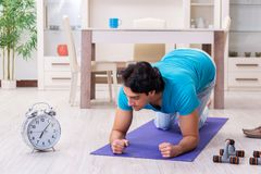 The young handsome man doing morning exercises. Young handsome man doing morning exercises royalty free stock images
