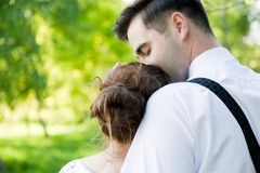 Young handsome man gently kissing his fiancee. Love Stock Photography