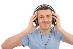 Young handsome man in headphones Royalty Free Stock Image