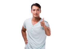 The young handsome man isolated on the white background Royalty Free Stock Photos