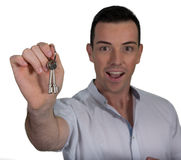 Young Handsome Man with Keys - Isolated Stock Image