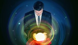 Man looking to the future of the word in a magic ball royalty free stock photos