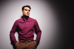 Young handsome man looking up Royalty Free Stock Photos