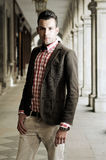 Young handsome man, model of fashion in the street Royalty Free Stock Photos