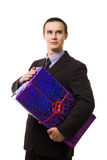 Young handsome man with one huge blue gift Royalty Free Stock Image