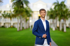Young handsome man portrait outdoors Stock Photo