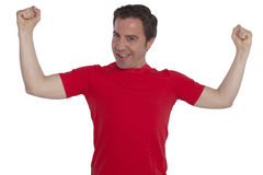 Young handsome man posing in red t-shirt Stock Photo