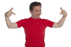Young handsome man posing in red t-shirt Stock Images