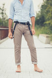 Young handsome man posing in an urban context Stock Photography
