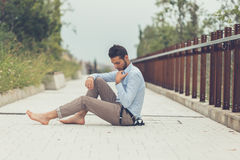Young handsome man posing in an urban context Stock Images