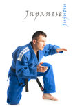 Young handsome man practicing jiu-jitsu Royalty Free Stock Images