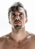 Young handsome man, shirtless and unshaven Stock Photo