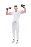 Young handsome man in sportswear doing exercises with dumbbells Stock Photos