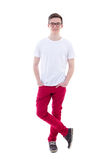 Young handsome man standing isolated on white Royalty Free Stock Image