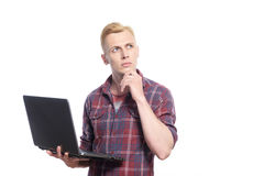 Young handsome man standing with lap top Stock Photos