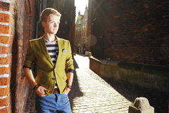 Young handsome man on street, old town Gdansk Stock Image