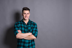 Young handsome man studio portrait, boy style Royalty Free Stock Photos