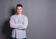 Young handsome man studio portrait, boy style Stock Photo