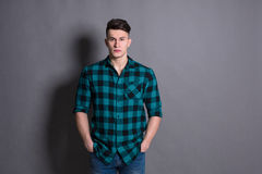 Young handsome man studio portrait, boy style Royalty Free Stock Photography