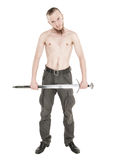 Young handsome man with sword isolated Royalty Free Stock Photo