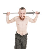 Young handsome man with sword screaming isolated Royalty Free Stock Images