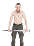 Young handsome man with sword screaming isolated Royalty Free Stock Image