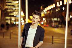Young handsome man with trendy hairstyle Royalty Free Stock Photography