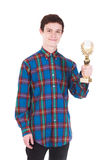 Young handsome man with trophy isolated on white. Background Stock Images