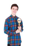 Young handsome man with trophy isolated on white. Background Royalty Free Stock Images