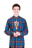Young handsome man with trophy isolated on white. Background Stock Photography