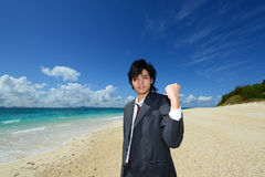 Young Handsome Man on Tropical Beach Stock Photos
