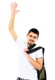 Young handsome man waving a greeting Royalty Free Stock Photography