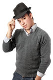 Young handsome man wearing black hat. Isolated. On white Royalty Free Stock Photos
