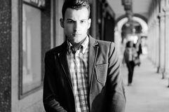 Young handsome man wearing jacket and shirt Royalty Free Stock Photos