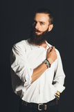 Young handsome man in white shirt Stock Images