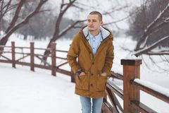 Young handsome man in winter Stock Images