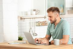 Young handsome man working with laptop at table. In kitchen Royalty Free Stock Images