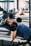 Young handsome man working out with dumbbells in a fitness gym.  Royalty Free Stock Photo