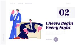Young Handsome Men Spare Time in Night Club Smoking Cigarettes and Drinking Alcoholic Drinks and Beverages, Nightlife Leisure. Website Landing Page, Web Page royalty free illustration