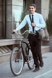 Worker with bicycle stock photo
