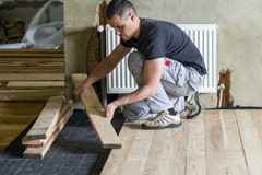 Young handsome professional carpenter installing natural wooden