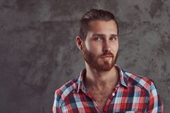 Young handsome redhead model man in a flannel shirt on a gray background. stock photo