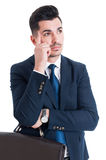 Young handsome salesman thinking gesture Royalty Free Stock Photo