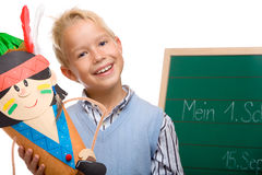 Young handsome schoolchild has first schoolday Royalty Free Stock Photos