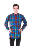 Young handsome smilling man in shirt isolated on white Stock Photos
