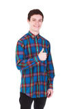 Young handsome smilling man in shirt isolated on white Stock Photography
